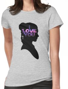 Star Wars Leia 'I Love You' Black Silhouette Couple Tee Womens Fitted T-Shirt