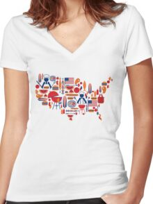 America's Map Celebration Patriotic BBQ T-Shirt Women's Fitted V-Neck T-Shirt