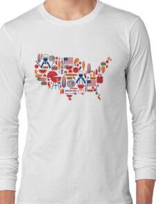 America's Map Celebration Patriotic BBQ T-Shirt Long Sleeve T-Shirt