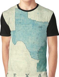 Texas Map Blue Vintage Graphic T-Shirt
