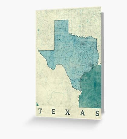 Texas Map Blue Vintage Greeting Card