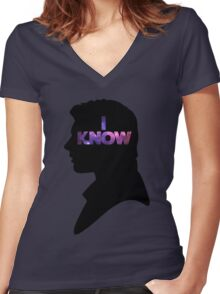Star Wars Han 'I Know' Black Silhouette Couple Tee Women's Fitted V-Neck T-Shirt