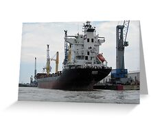 Container Ship - Hamburg, Industry Harbour Greeting Card