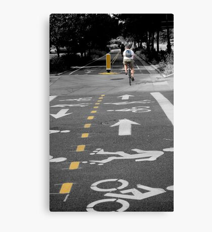 Single Biker on the Road Canvas Print