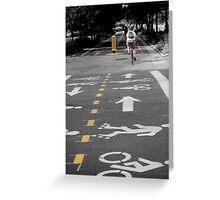 Single Biker on the Road Greeting Card