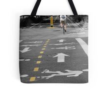 Single Biker on the Road Tote Bag