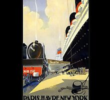 Vintage Ad Ship and Train iPhone by wlartdesigns