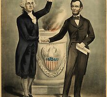 Currier & Ives portrait of Washington and Lincoln by Adam Asar