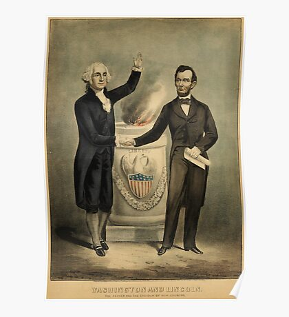 Currier & Ives portrait of Washington and Lincoln Poster