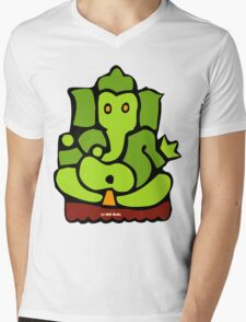 Green Ganesh T-Shirt Mens V-Neck T-Shirt
