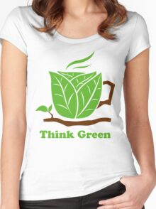 Think Green T-Shirt Women's Fitted Scoop T-Shirt