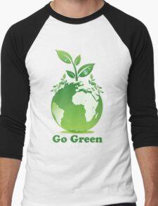 Go Green T-Shirt Men's Baseball ¾ T-Shirt