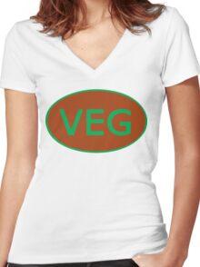 Vegan Vegetarian Symbol T-Shirt Women's Fitted V-Neck T-Shirt