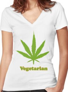 Vegetarian Pot Leaf T-Shirt Women's Fitted V-Neck T-Shirt