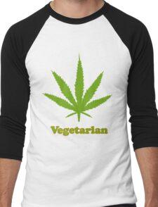 Vegetarian Pot Leaf T-Shirt Men's Baseball ¾ T-Shirt