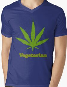 Vegetarian Pot Leaf T-Shirt Mens V-Neck T-Shirt