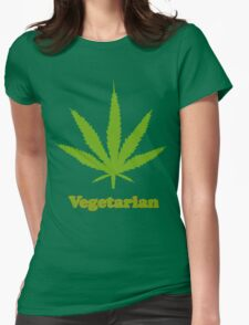 Vegetarian Pot Leaf T-Shirt Womens Fitted T-Shirt