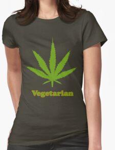 Vegetarian Pot Leaf T-Shirt Womens Fitted T-Shirt