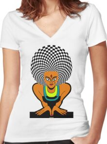 Psychedelic Desi Indian T-Shirt  Women's Fitted V-Neck T-Shirt