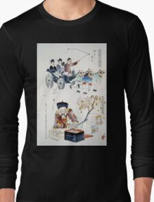 Humorous pictures showing the Chinese mode of transportation  four men harnessed to a carriage by their long pigtails and a scene depicting the silk industry 001 Long Sleeve T-Shirt