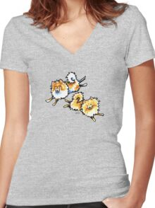 2 Cute Pomeranians Women's Fitted V-Neck T-Shirt