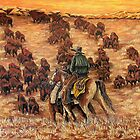 Driving The Herd, The Painting by Susan Bergstrom