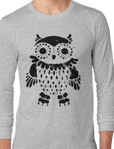 """Owl"" black print Long Sleeve T-Shirt"