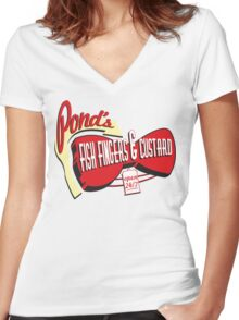 Fish Fingers & Custard Women's Fitted V-Neck T-Shirt