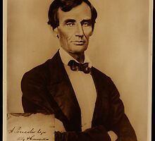 Reproduction print of Lincoln with signature inserted August 13, 1860 by Adam Asar