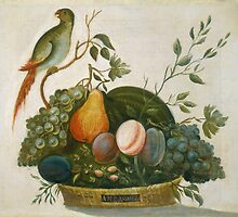 A.M. Randall Basket of Fruit with Parrot 1777 by Adam Asar