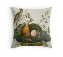 A.M. Randall Basket of Fruit with Parrot 1777 Throw Pillow