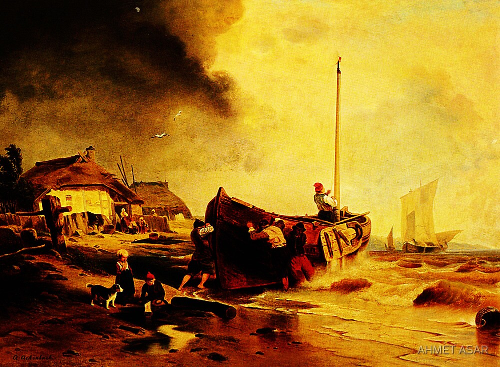 a fishingboat on the beach Andreas Achenbach by MotionAge Media