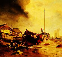 a fishingboat on the beach Andreas Achenbach by Adam Asar