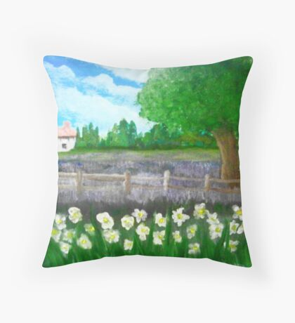 Lavender and Daffs Throw Pillow