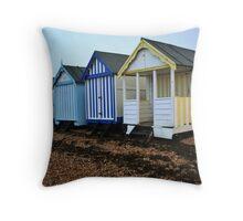Shoebury Beach Huts Throw Pillow