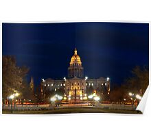 Colorado State Capitol Building at Night Poster