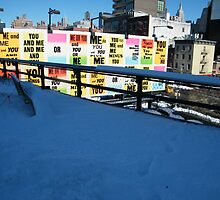 The High Line and Billboard After A Snowfall, New York City's Elevated Park and Garden by lenspiro