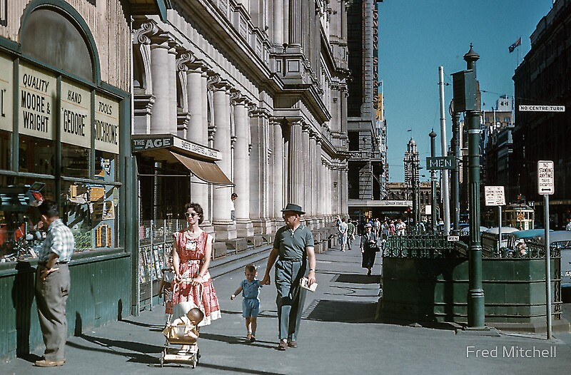 Pedestrians at end of Post Office next to Tin Shed... by Fred Mitchell by Shot in the Heart of Melbourne, 2013