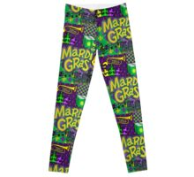 Mardi Gras Purple/Gold Collage Leggings