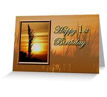 1st Birthday Sunset Greeting Card