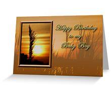 Birthday To My Baby Boy Sunset Greeting Card