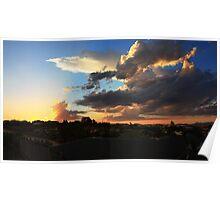 Big clouds sunset Poster