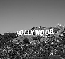 Hollywood sign in black and white. by philw