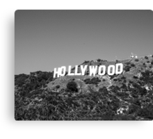 Hollywood sign in black and white. Canvas Print