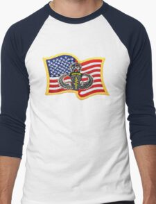 Special Forces Patch with U.S. Flag Men's Baseball ¾ T-Shirt