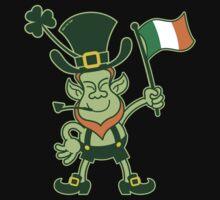 Proud Leprechaun Waving an Irish Flag Kids Tee
