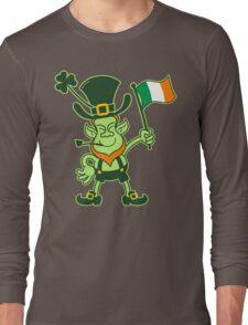 Proud Leprechaun Waving an Irish Flag Long Sleeve T-Shirt