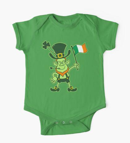 Proud Leprechaun Waving an Irish Flag One Piece - Short Sleeve