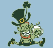 Green Leprechaun Running while Holding a Glass of Beer One Piece - Short Sleeve