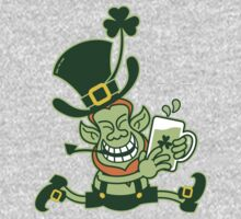 Green Leprechaun Running while Holding a Glass of Beer One Piece - Long Sleeve